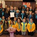 Hounslow Brownies and Guides Group and leaders with Mayor and Maria Pedro