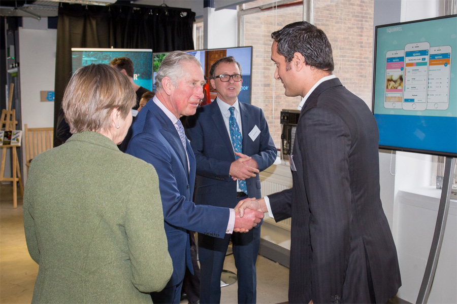 The Prince of Wales visited Barclays Eagle Lab, Kensington and was received by Lady Arnold (Deputy Lieutenant of Greater London)