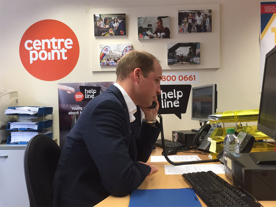 The Duke of Cambridge this morning launched the Centrepoint Helpline at The Mix, Glentworth Street, NW1