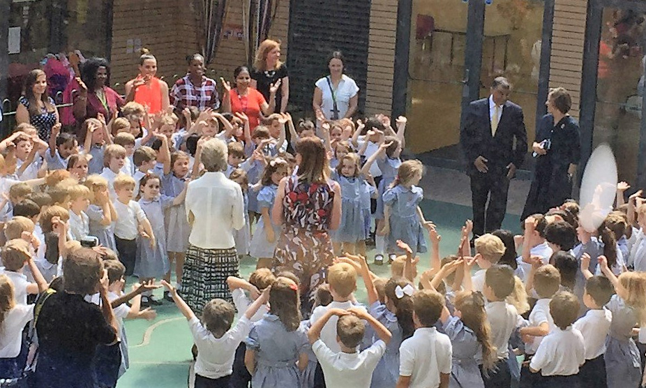 The Duchess of Gloucester this afternoon visited Newton Preparatory School