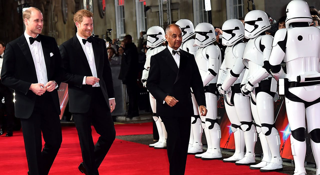 The Duke of Cambridge and Prince Harry attends the European Premiere of Star Wars