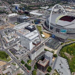 Aerial view of Wembley Park. Wembley Park is a residential, sports and entertainment district adjacent to Wembley Stadium and The SSE Arena.