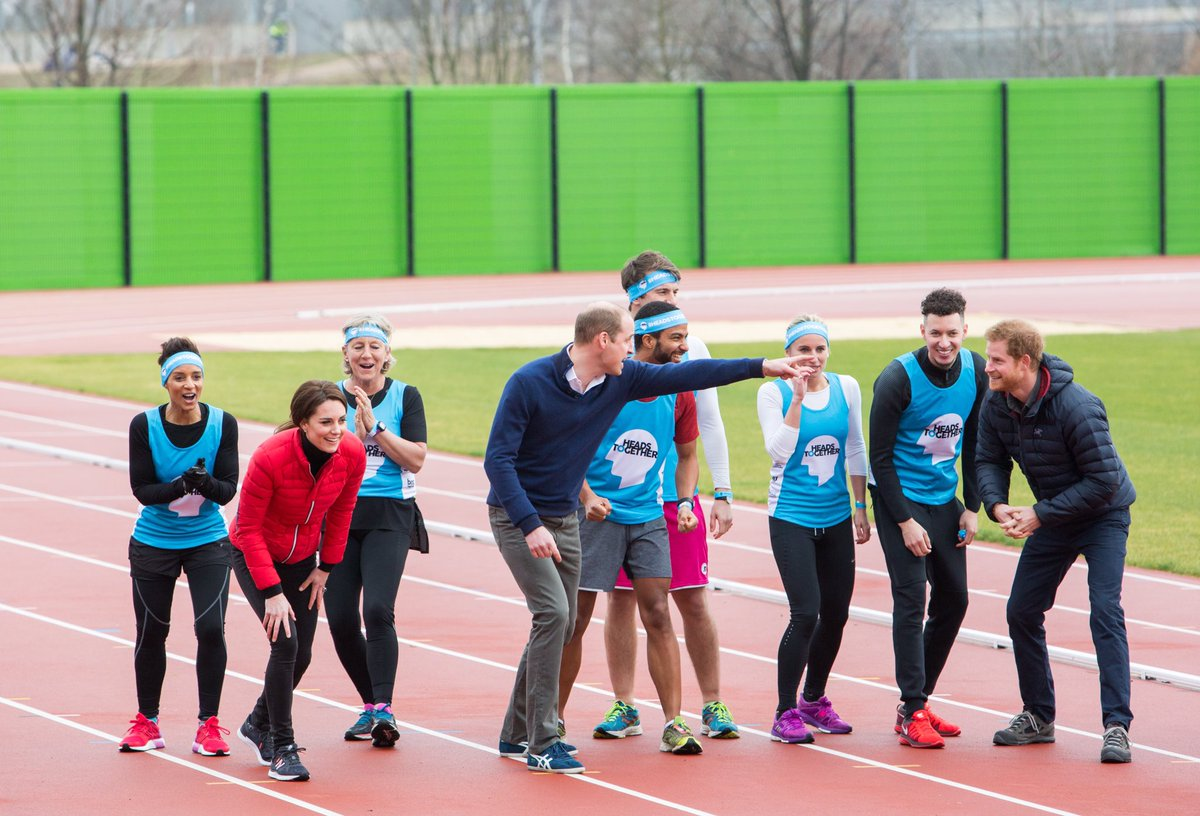 The Duke and Duchess of Cambridge and Prince Henry of Wales attended a Training Day for the Heads Together London marathon runners
