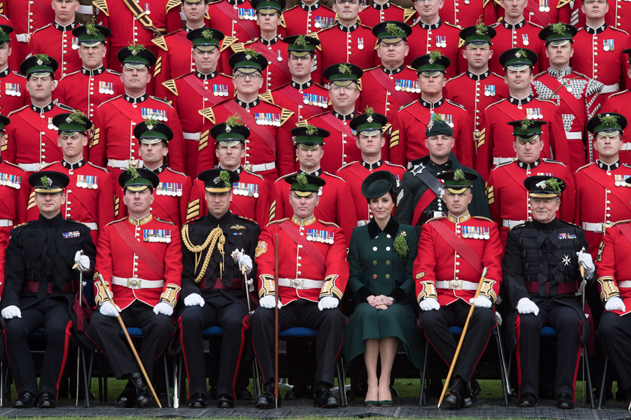 The Duke and Duchess of Cambridge visit the Irish Guards on St. Patrick's Day