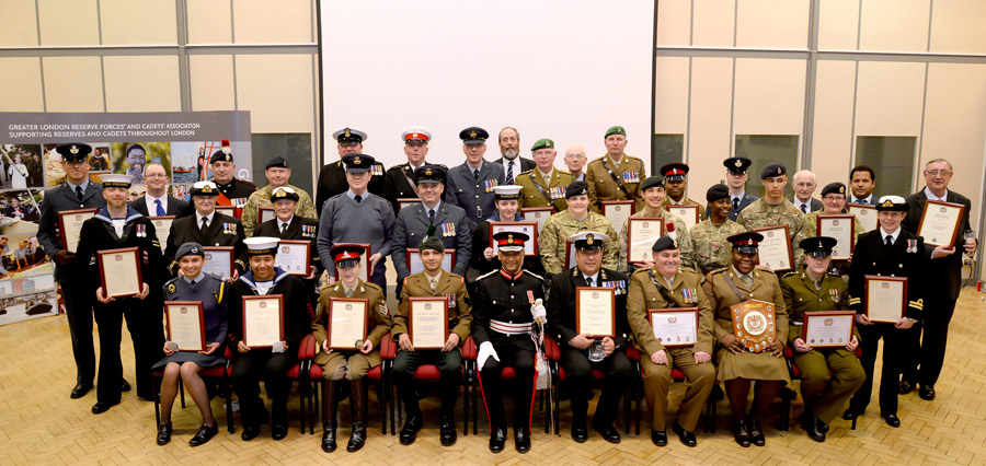 OUTSTANDING RESERVES AND CADETS RECOGNISED BY LORD-LIEUTENANT OF GREATER LONDON