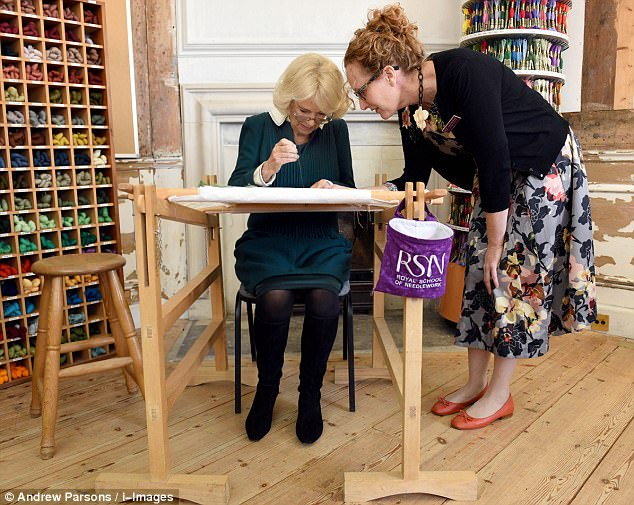 The Duchess of Cornwall and The Duchess of Gloucester vists the Royal School of Needlework