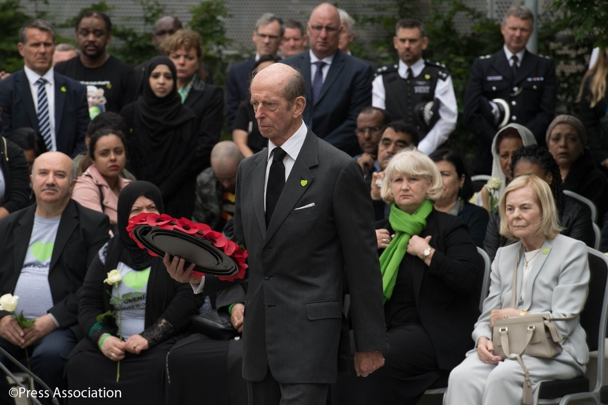 The Duke and Duchess of Kent attend a memorial event to mark the First Anniversary of the Grenfell Tower Disaster