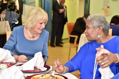 The Duchess of Cornwall visits  the National Association on Care Catering Lunch Club