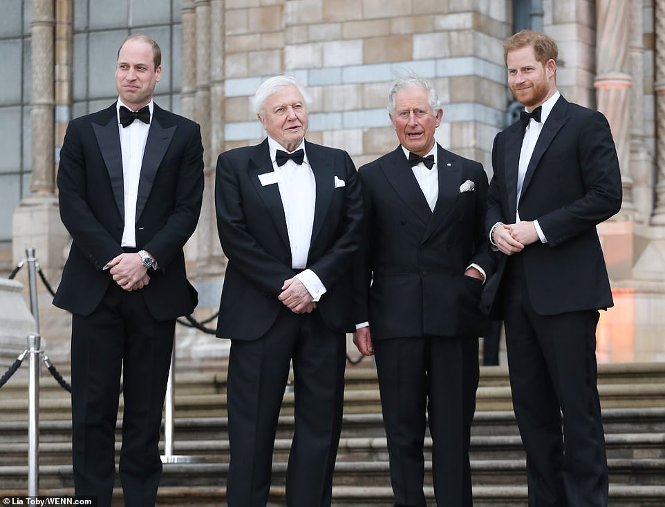 "The Prince of Wales, The Duke of Cambridge and The Duke of Sussex attends the global première of ""Our Planet"""