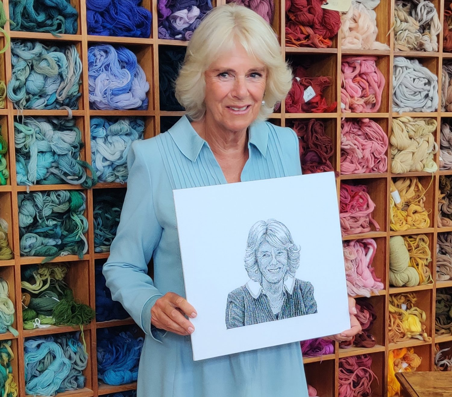 The Duchess of Cornwall visits the Royal School of Needlework