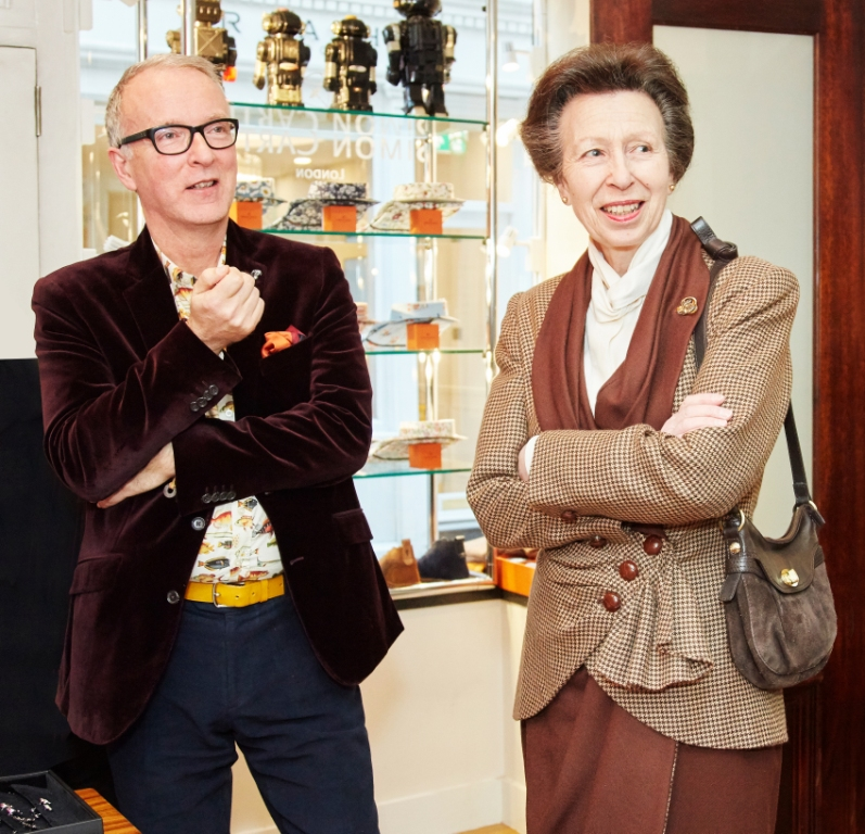 The Princess Royal visits menswear designer Simon Carter