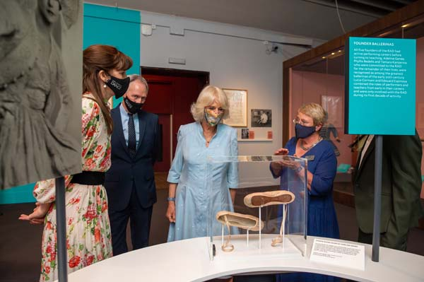 The Duchess of Cornwall visits On Point: Royal Academy of Dance at 100 at the V&A with Dame Darcey Bussell